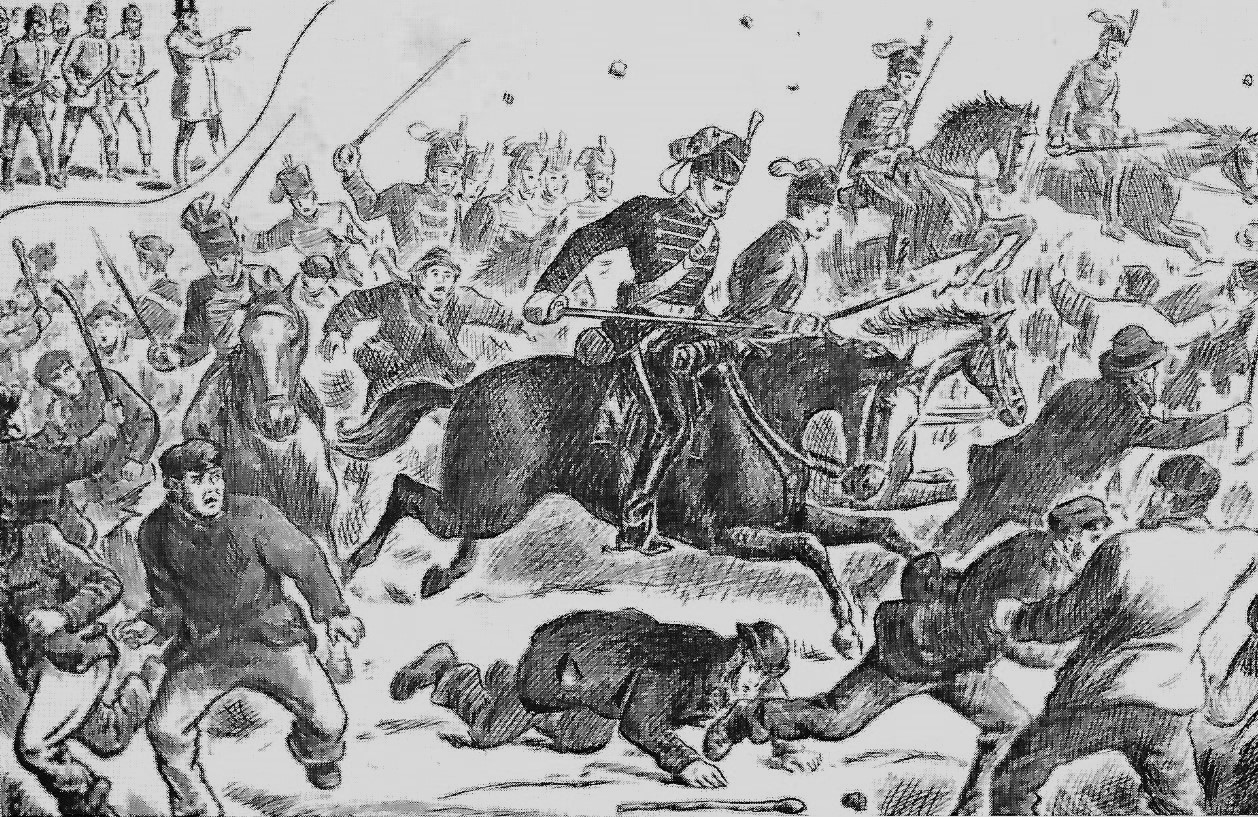 Mounted soldiers with drawn swords charging through a crowd of striking miners