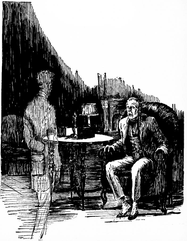 Man staring at apparition