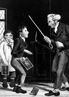 Teacher threatening pupil with stick