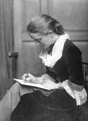 Seated woman writing