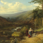 Two women resting by a stream