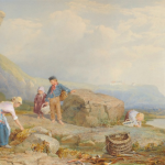 Woman gathering mussels